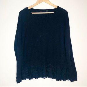 Anthropologie Knitted & Knotted lace hem Sweater
